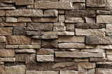 Horizontal Texture of Brown Asymmetrical Stones Wall