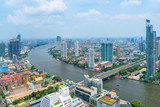 Aerial view Chao Phraya river of cityscape in downtown Bangkok the business capital of Thailand (update May 20,2017)