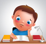 Preschool boy kid vector character bored studying school homework in desk with adorable sad face and unhappy look while writing. Vector illustration.