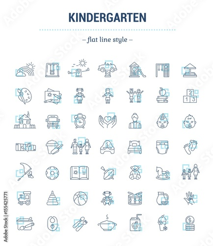 Vector graphic set. Icons in flat, contour, thin, minimal and linear design.Kindergarten. Establishment of public education of children. Concept illustration for Web site.Sign,symbol, element.