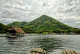 Hut rafts on the Lake in the mountains : Huai krathing, Loei, Thailand