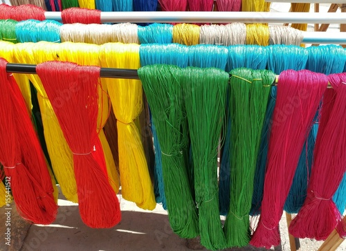 Colorful Yarn Outside Drying