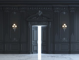 Black wall panels in classical style with silvering. 3d rendering