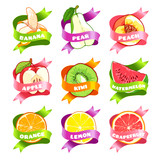 Nine stickers with ribbon and different fruits.