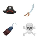 Pirate Bandit Cap Hook Pirates Set  Icons In Cartoon Style  Symbol Stock Illustration Web Wall Sticker