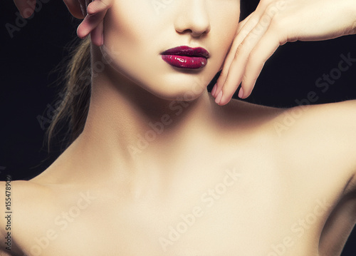 Close-up dark glossy lips of woman with clean skin Poster