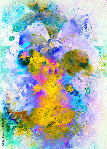 Poster Vlinders in Grunge Illustration of a butterfly, mixed medium. Abstract color background.