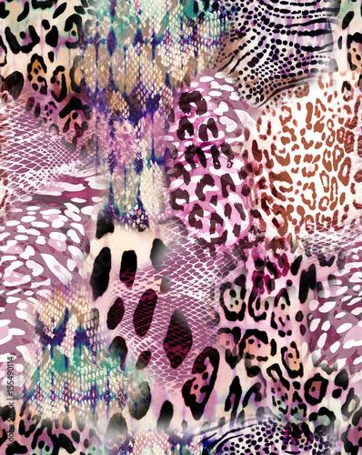 Cotton fabric natural animal mix print - seamless background