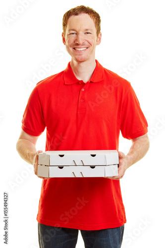 Plexiglas Pizzeria Mann mit Pizza als Pizzabote