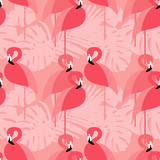 Seamless vector background. Pink Flamingo on a tropical background.