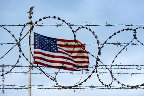 American flag and barbed wire, USA border Poster