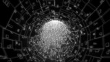 Digital network tunnel abstract background, black and white theme