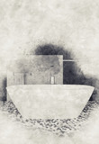 Textured paint and sketch effect bathroom