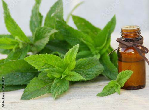 Foto Murales huile essentielle de menthe bio ,fond bois