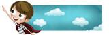 Niño valiente superheroe con fondo de nubes - 155576196