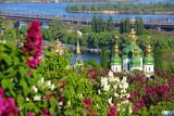 Vydubychi Monastery with lilac blossom in Kyiv, Ukraine