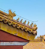 Architectural fragments of palaces in the Forbidden City in Beijing during smog, China