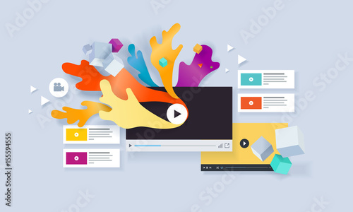 Creative Concept Banner Vector Illustration For Video