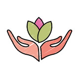 hand with flowers icon over white background. vector illustration