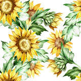 Seamless pattern with sunflower. Hand draw watercolor watercolor  - 155628953
