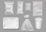 Big set of plastic packaging - sacks, tray, cup. Vector. - 155664542