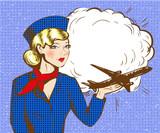 Vector pop sztuki ilustracji stewardesa z samolotu