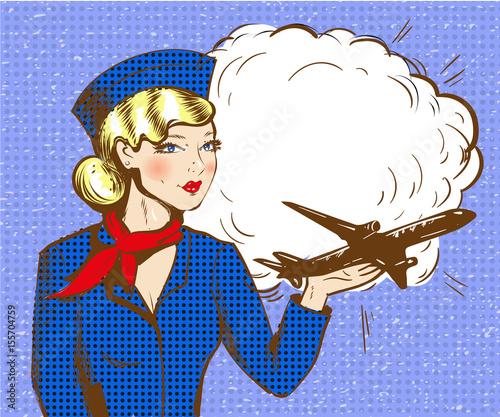 Fotobehang Pop Art Vector pop art illustration of stewardess with airplane