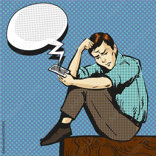 Tuinposter Pop Art Vector pop art illustration of man talking on the phone