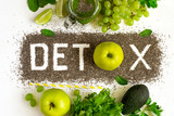 Word detox is made from chia seeds. Green smoothies and ingredie - 155712311