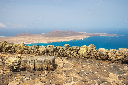 Deurstickers Canarische Eilanden Impressive view from Mirador del Rio to island of La Graciosa, Lanzarote, Canary islands