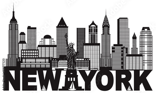 New York City Skyline and Text Black and White vector Illustration