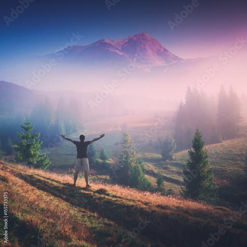 Fotobehang Lichtroze In a high mountain valley. Instagram stylization