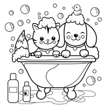 Dog And Cat Taking A Bath Coloring Book Page Sticker