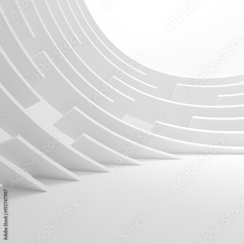 Staande foto Abstract wave Abstract Architecture Background. 3d Illustration of White Circular Building