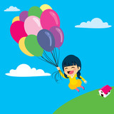 Beautiful little girl flying with balloon over the clouds in the sky
