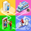 Milk take away food truck and white motor scooter for dairy product fast home delivery vector infographic. Isometric people delivery man processing online order at the client customer door