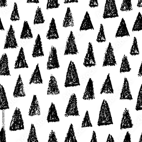 Cotton fabric Doodle hand drawn seamless pattern with triangles. Vector black and white background.