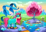 Fototapeta Fototapety na ścianę do pokoju dziecięcego - Happy unicorn in a landscape of dreams © ddraw