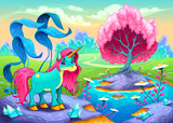 Fototapeta Child room - Happy unicorn in a landscape of dreams © ddraw