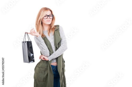 Attractive woman holding shopping bag