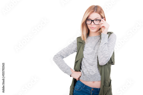 Sexy fashion model girl wearing glasses