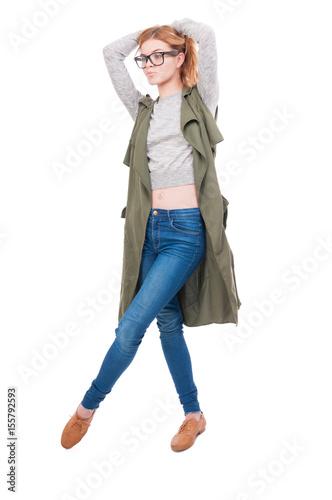 Full body of beautiful stylish girl