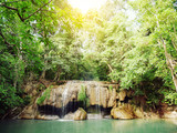 Landscape photo, Erawan Waterfall, beautiful famous waterfall in rain forest at Kanchanaburi province, Thailand