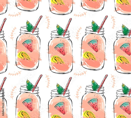 Hand drawn vector abstract summer time organic fresh fruits seamlees pattern with cocktail in glass bottle jar,watermelon,lemon slice and mint leaves in rose pink colors isolated on white background - 155806570
