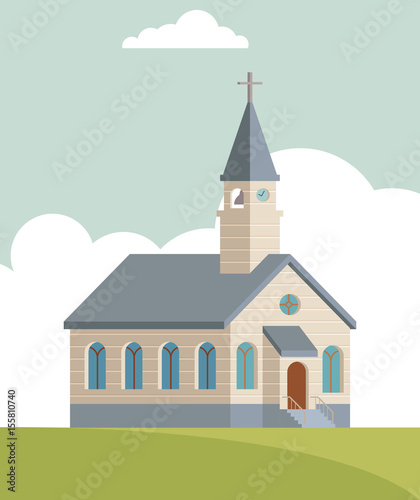 Church building illustration. Global colors used easy to edit. - 155810740