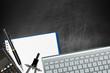 Office Desk Top View - Empty Blackboard