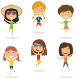 Happy cartoon girls jumping