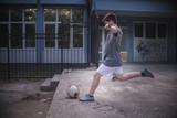 Strong kick of the ball