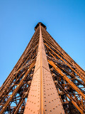 Detail of the Eiffel Tower of Paris, from inside and the top