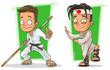 Cartoon kung fu boys in white kimono character vector set - 155890532